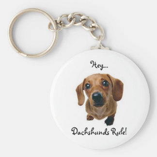 """Hey... Dachshunds Rule!"" Basic Round Button Key Ring"