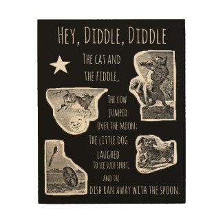 Hey Diddle Diddle Nursery Rhyme Wood Wall Decor