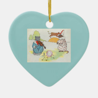 Hey, diddle, diddle!  The cat and the fiddle Ceramic Heart Decoration