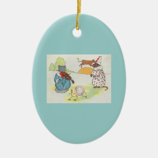 Hey, diddle, diddle!  The cat and the fiddle Ceramic Oval Decoration