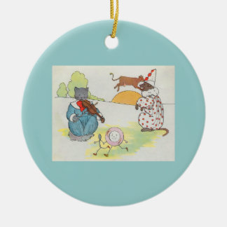 Hey, diddle, diddle!  The cat and the fiddle Double-Sided Ceramic Round Christmas Ornament
