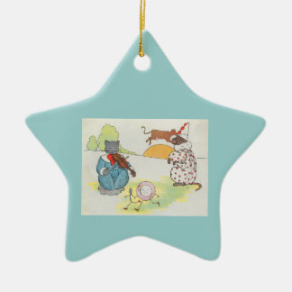 Hey, diddle, diddle!  The cat and the fiddle Double-Sided Star Ceramic Christmas Ornament