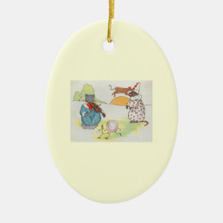 Hey, diddle, diddle!  The cat and the fiddle Double-Sided Oval Ceramic Christmas Ornament