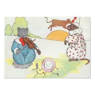 Hey, diddle, diddle!  The cat and the fiddle 5x7 Paper Invitation Card