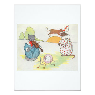 Hey, diddle, diddle!  The cat and the fiddle 4.25x5.5 Paper Invitation Card