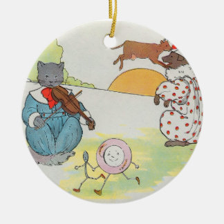 Hey, diddle, diddle!  The cat and the fiddle Round Ceramic Decoration