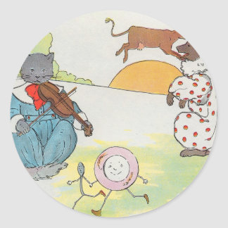 Hey, diddle, diddle!  The cat and the fiddle Round Sticker