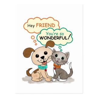 Hey Friend... (BowWow & MeeYow) Postcard
