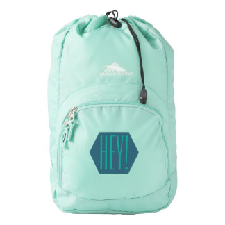 Hey Greeting Dark Light Turquoise Hexagon Emblem Backpack