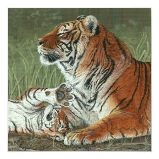 Hey Mom Wake Up! tiger invitation card