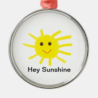 Hey Sunshine Silver-Colored Round Decoration