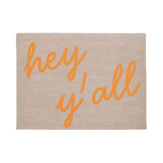 Hey y'all funny hello quote hipster humor burlap doormat
