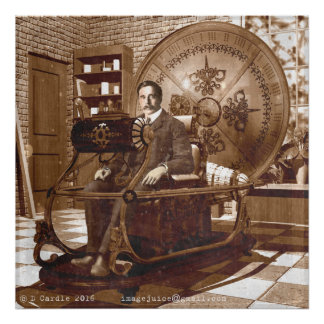 HG Wells sitting in the Time Machine Poster