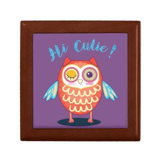 Hi Cutie Orange Blue Owl on Purple Giftbox Gift Box