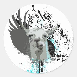 hi-fi llama. classic round sticker