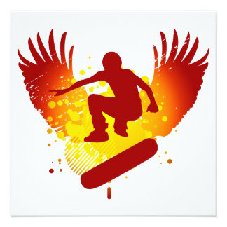hi-fi skateboard 13 cm x 13 cm square invitation card