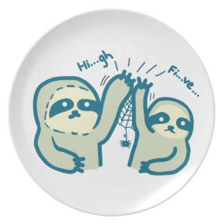 Hi-Five Sloth Melamine Plate