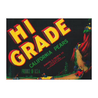 Hi Grade Pear Crate Label Gallery Wrapped Canvas