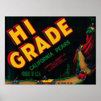 Hi Grade Pear Crate Label Poster