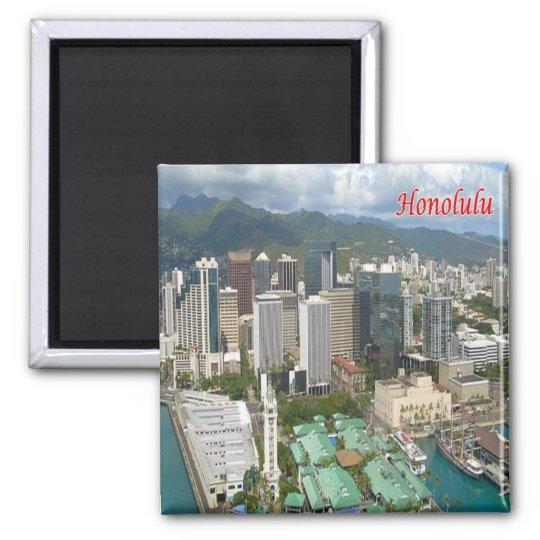 HI - Hawaii - Honolulu - Panorama Square Magnet