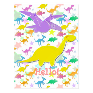 Hi Hello Color Dinosaurs Cartoon Postcard