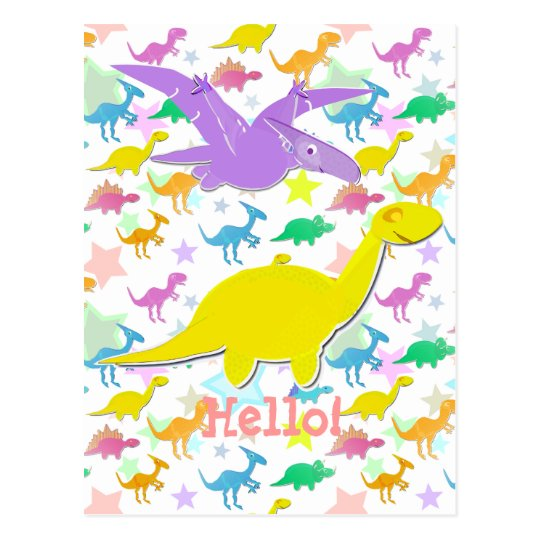 Hi Hello Colour Dinosaurs Cartoon Postcard