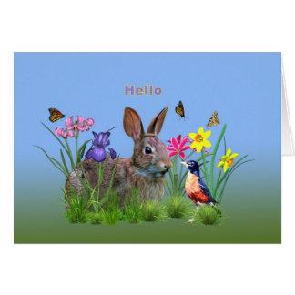 Hi, Hello, Flowers, Butterflies, Robin, Rabbit Greeting Card
