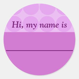 """Hi, my name is ______"" - Lavender Dotted Design Round Sticker"