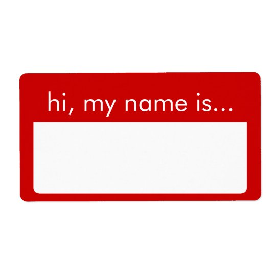 Hi, My Name is, Red Name Tag Labels