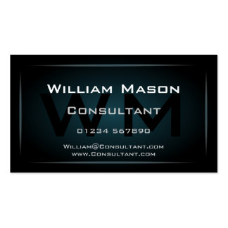 Hi-Res Blue Monogram Professional Business Card