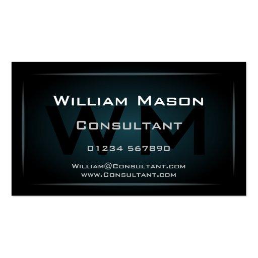 Hi-Res Blue Monogram Professional Business Card Business Cards