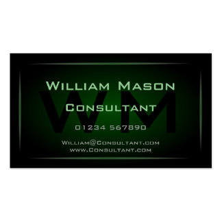 Hi-Res Green Monogram Professional Business Card