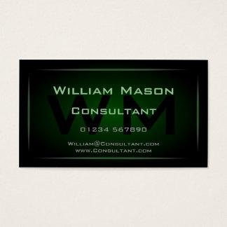 Hi-Res Green Monogram Professional Business Card