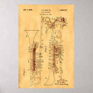 Hi res Trombone Patent art Vintage Paper Poster