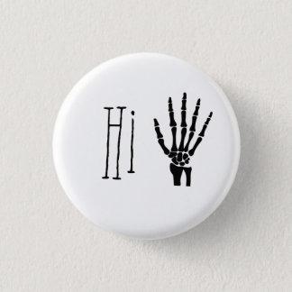 Hi skeleton waving hand 3 cm round badge