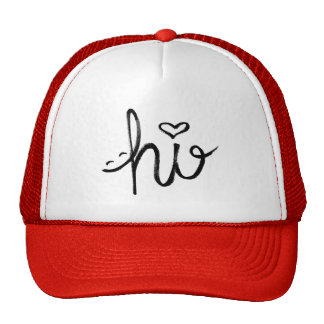hi Smile and Heart Typography Cap