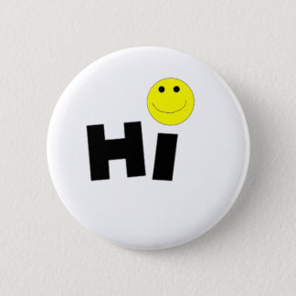 Hi (Smiley Face) 6 Cm Round Badge