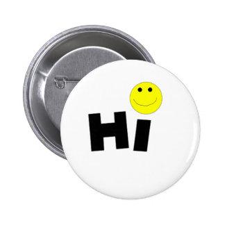 Hi (Smiley Face) 6 Cm Round Badge