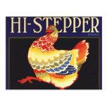 Hi Stepper Chicken Vintage Fruit Crate Label Art