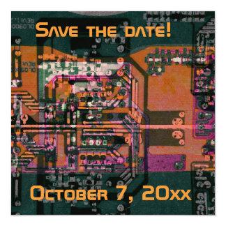 Hi- tech electronic geek wedding save the date 13 cm x 13 cm square invitation card