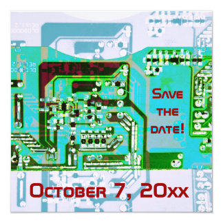 "Hi- tech electronic geek wedding save the date 5.25"" square invitation card"