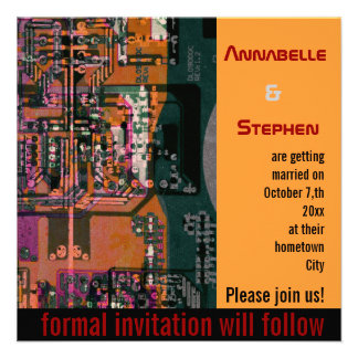 Hi- tech electronic geek wedding save the date invitations