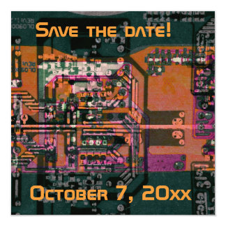 Hi- tech electronic geek wedding save the date 5.25x5.25 square paper invitation card