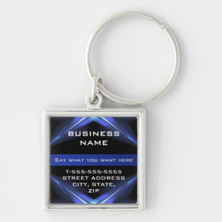 Hi Tech Futuristic Business Promotional Silver-Colored Square Key Ring