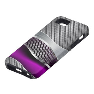 Hi Tech Futuristic Mod Mesh Chrome and Purple Case For The iPhone 5