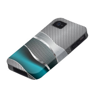 Hi Tech Futuristic Mod Mesh Chrome Peacock Blue iPhone 4/4S Cases