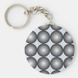 Hi-Tech Silver and Gray Balls Basic Round Button Key Ring