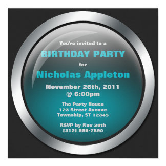 Hi-Tech Sphere Blue Birthday Party Invitations