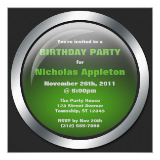 Hi-Tech Sphere Green Birthday Party Invitations