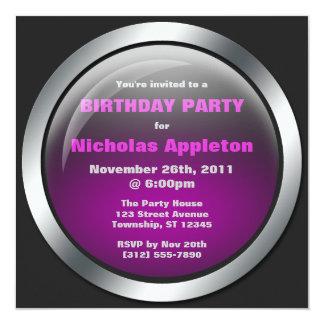 """Hi-Tech Sphere Purple Birthday Party Invitations 5.25"""" Square Invitation Card"""